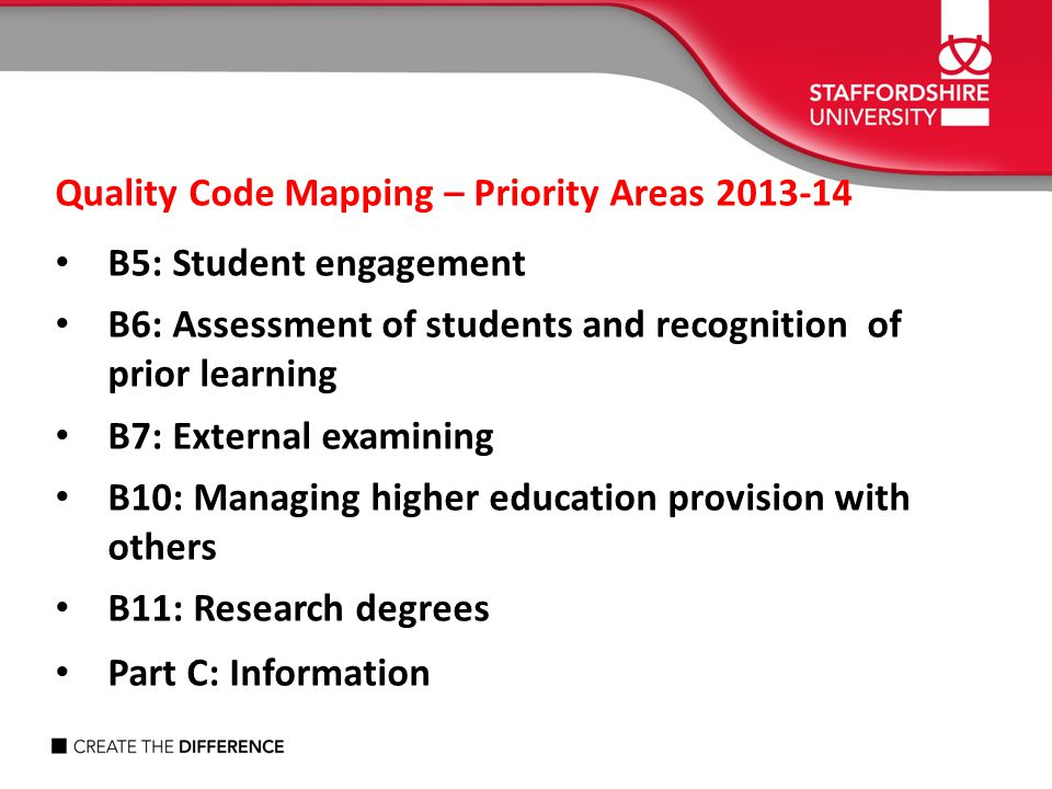 Quality Code Mapping – Priority Areas 2013-14