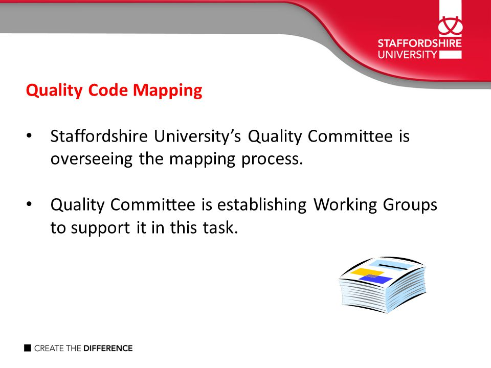 Quality Code Mapping Staffordshire University's Quality Committee is overseeing the mapping process.