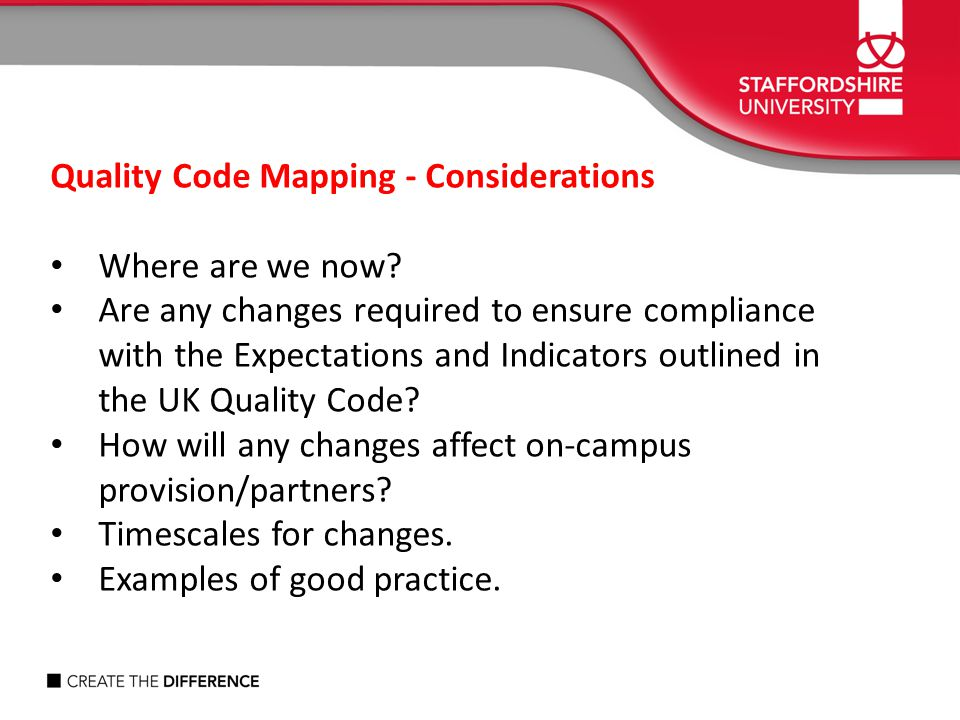 Quality Code Mapping - Considerations