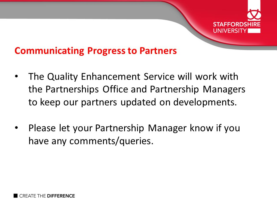 Communicating Progress to Partners