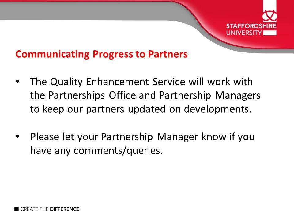 Communicating Progress to Partners