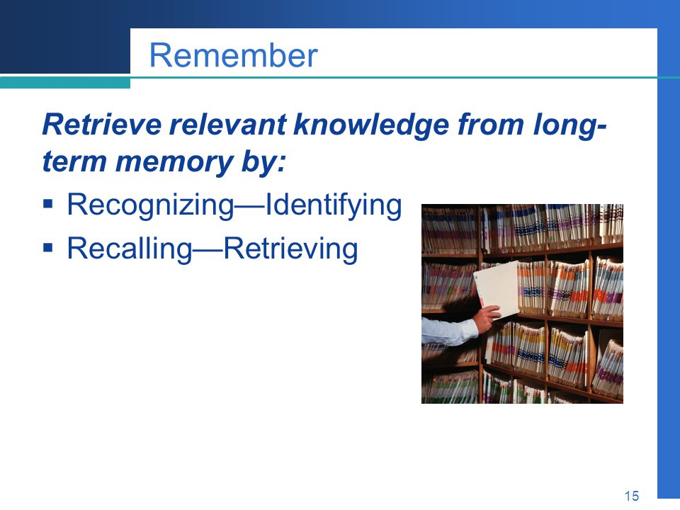 Remember Retrieve relevant knowledge from long-term memory by: