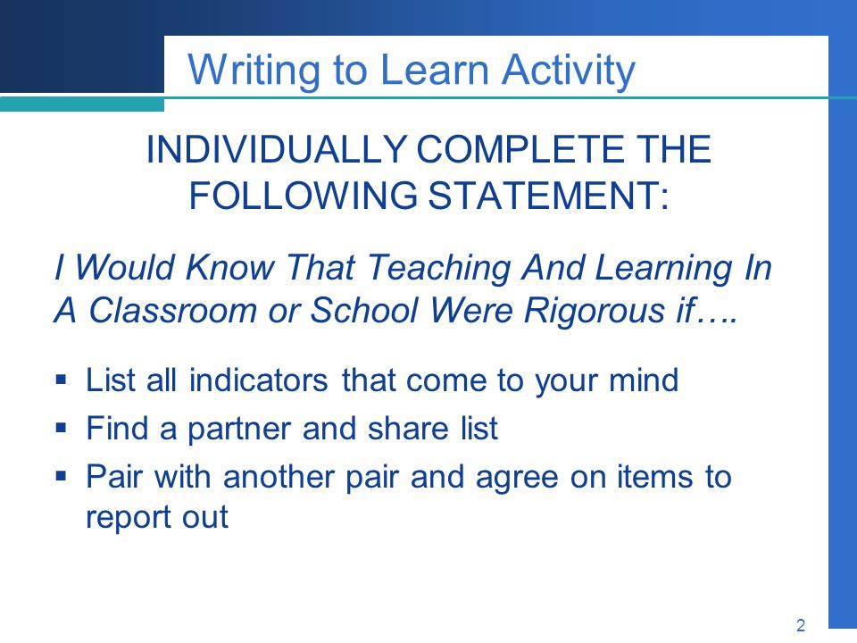 Writing to Learn Activity