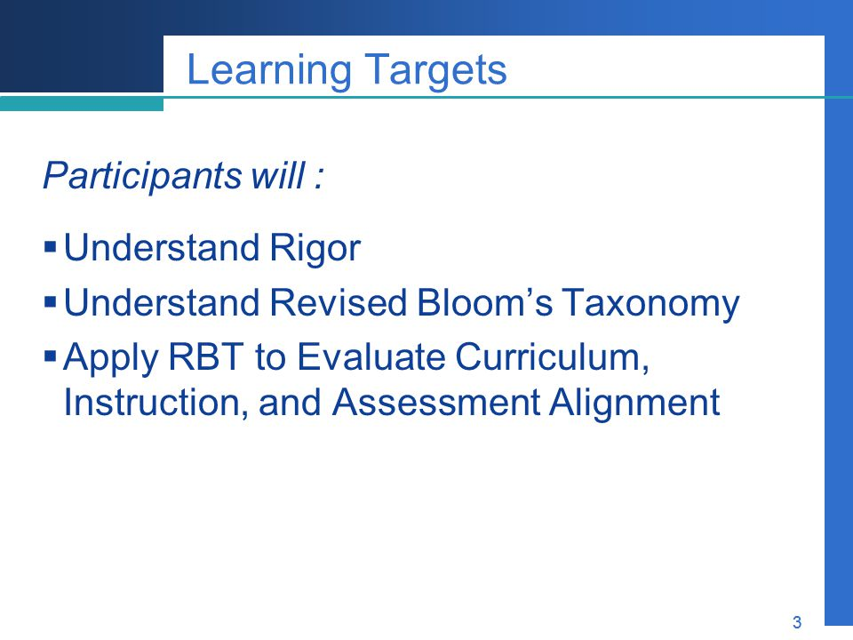 Learning Targets Participants will : Understand Rigor