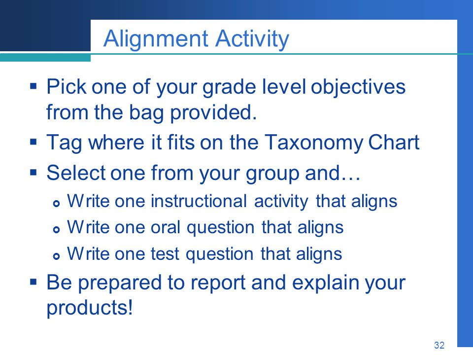 Alignment Activity Pick one of your grade level objectives from the bag provided. Tag where it fits on the Taxonomy Chart.