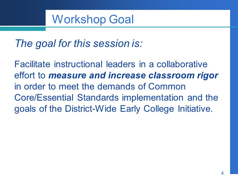 Workshop Goal The goal for this session is: