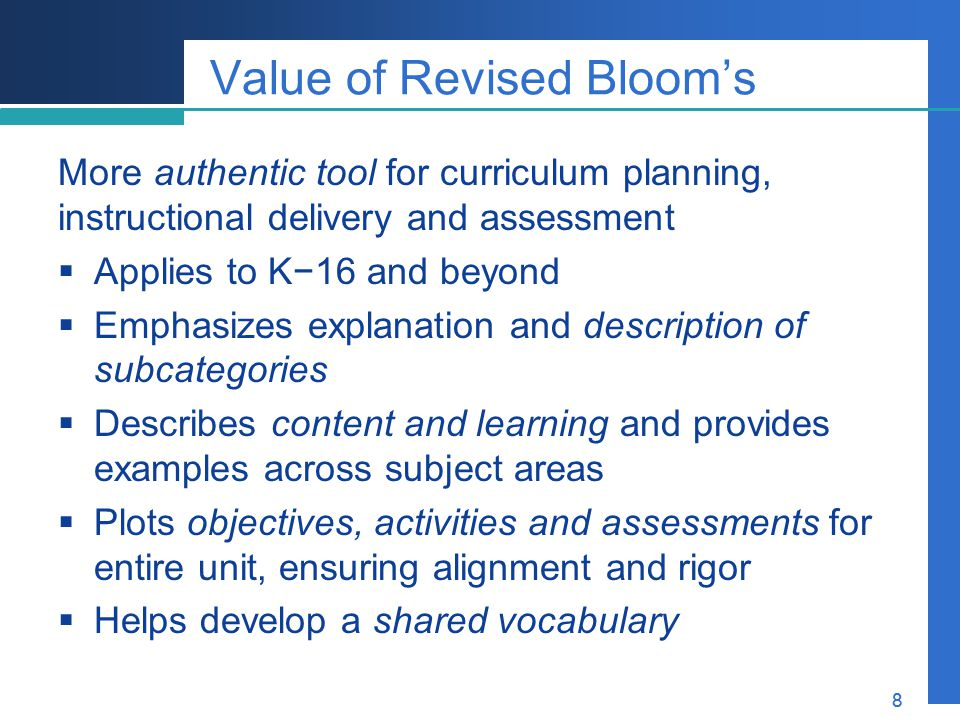 Value of Revised Bloom's