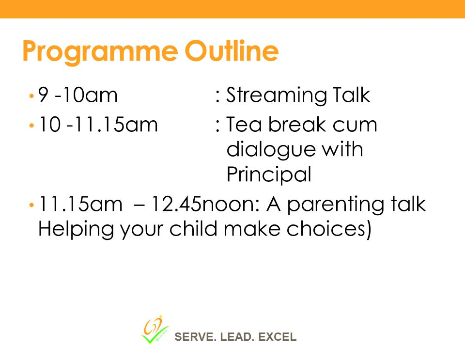 Programme Outline 9 -10am : Streaming Talk