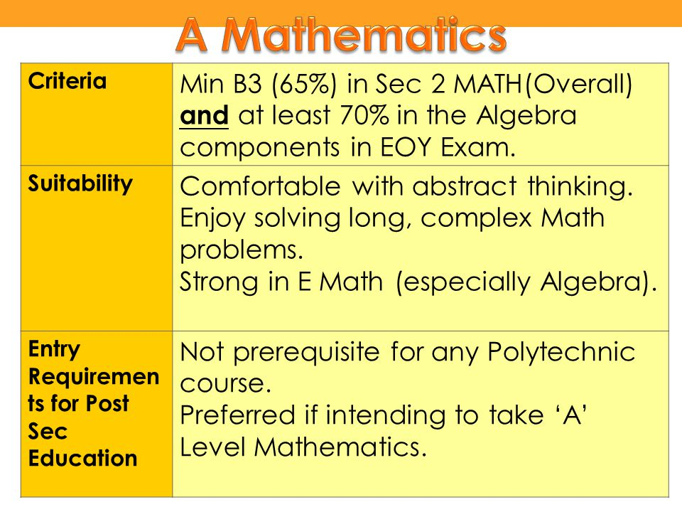 A Mathematics Criteria. Min B3 (65%) in Sec 2 MATH(Overall) and at least 70% in the Algebra components in EOY Exam.