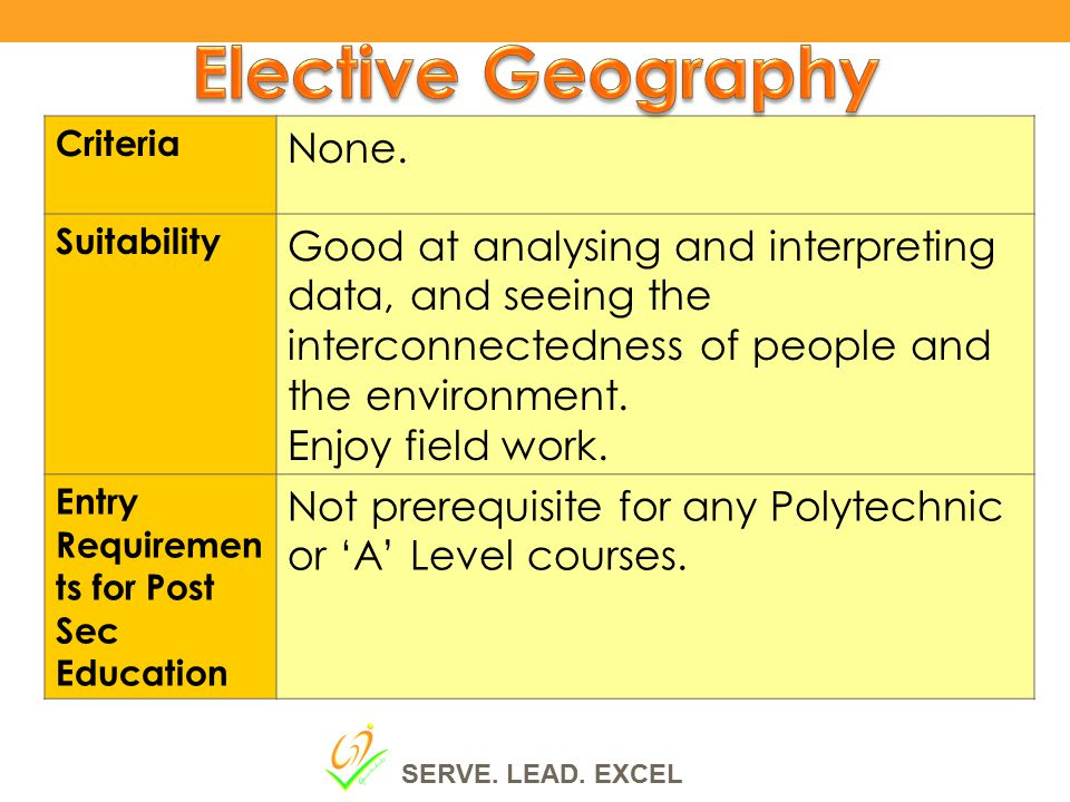 Elective Geography None.