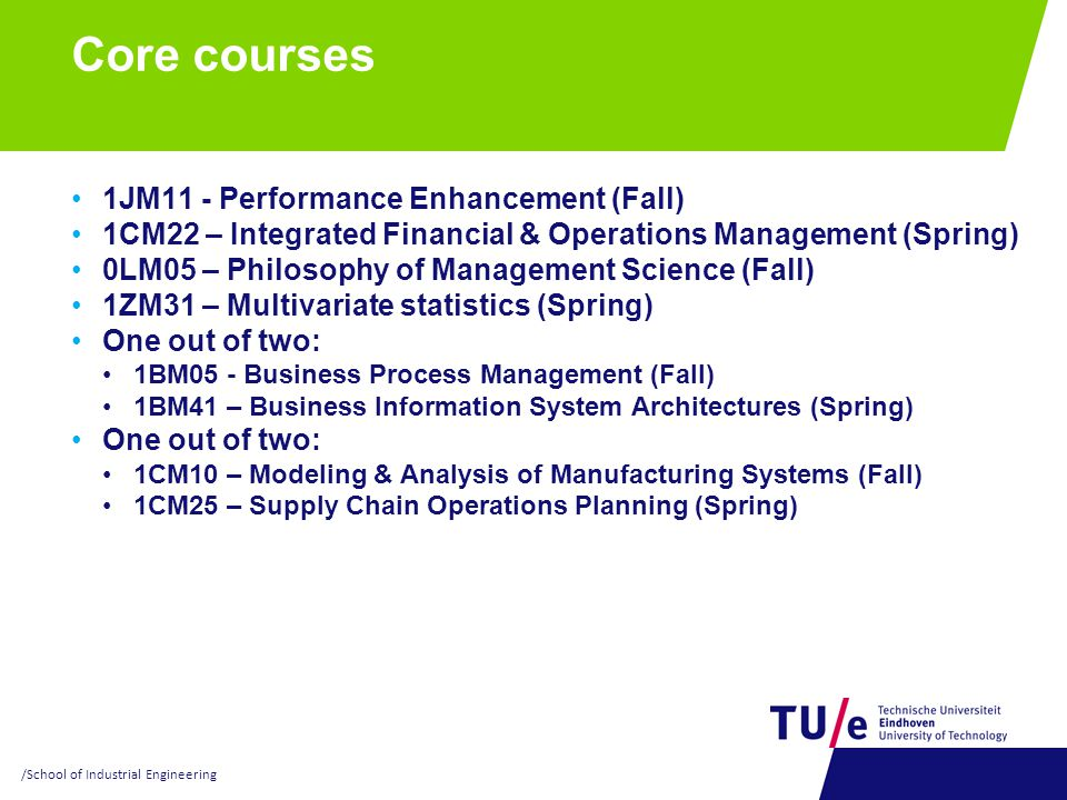 Core courses 1JM11 - Performance Enhancement (Fall)