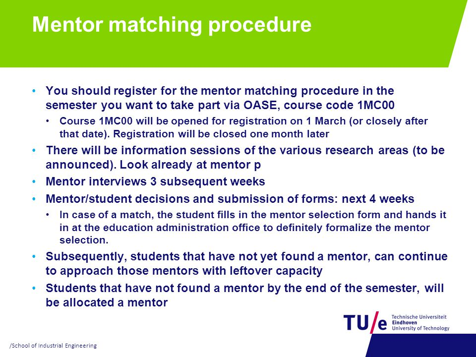 Mentor matching procedure