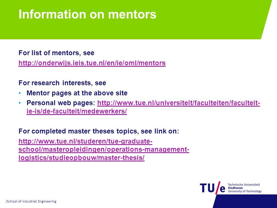 Information on mentors