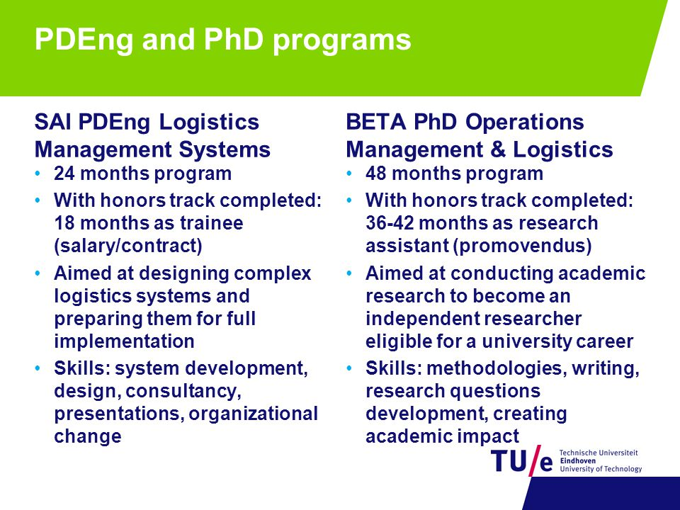 PDEng and PhD programs SAI PDEng Logistics Management Systems