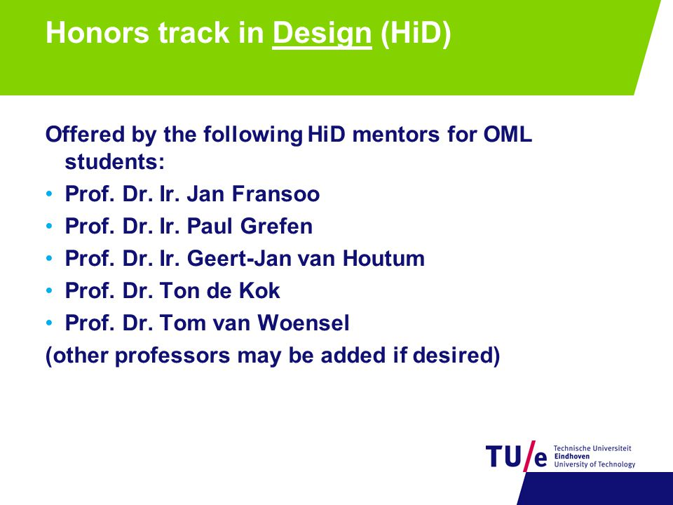 Honors track in Design (HiD)