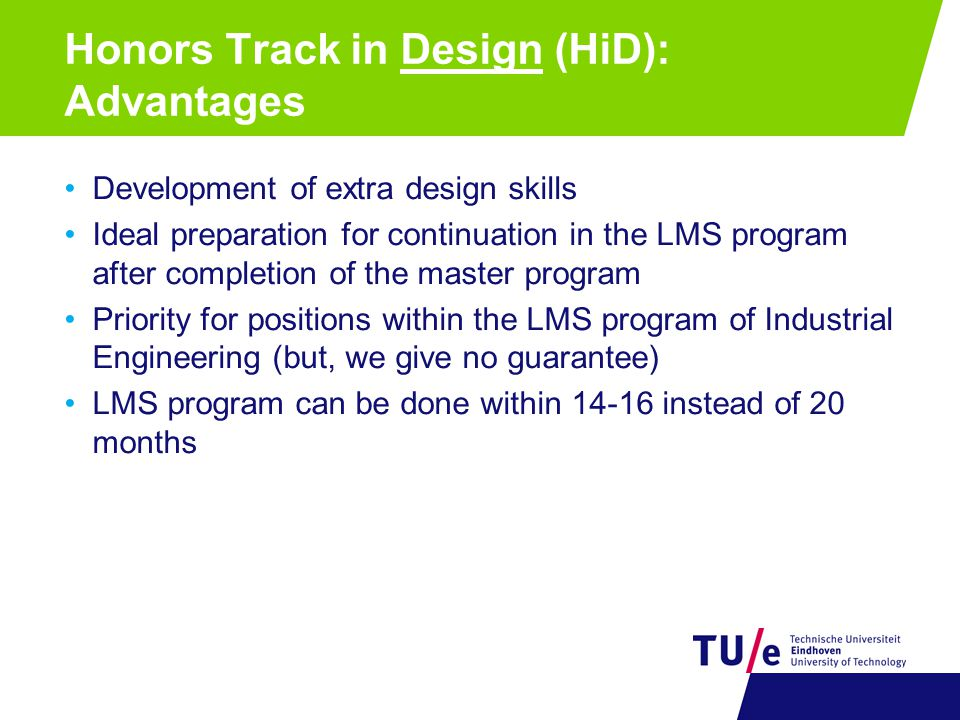 Honors Track in Design (HiD): Advantages