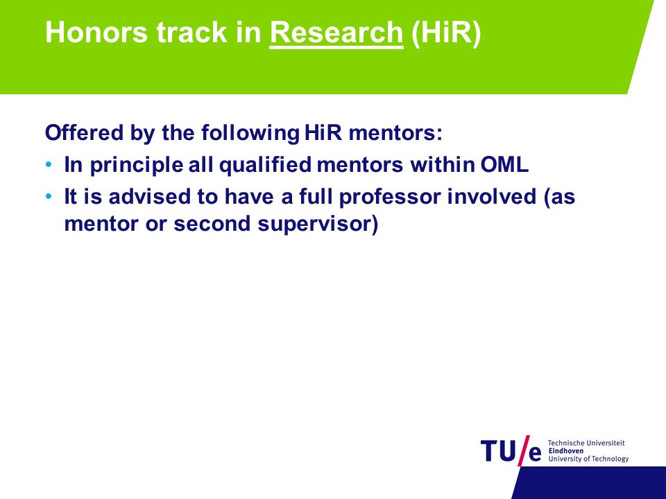 Honors track in Research (HiR)
