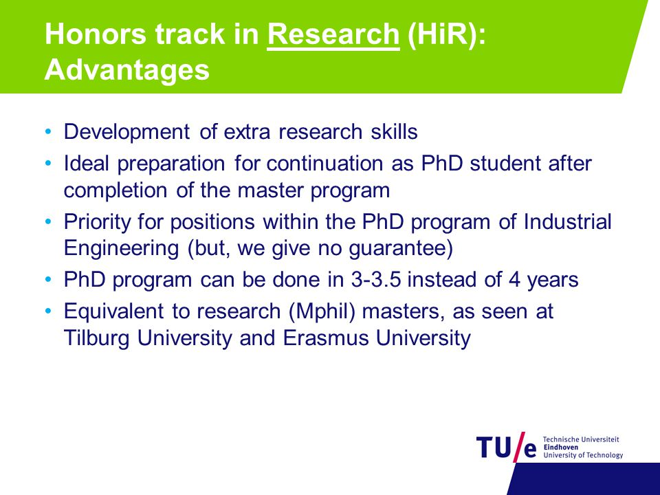 Honors track in Research (HiR): Advantages
