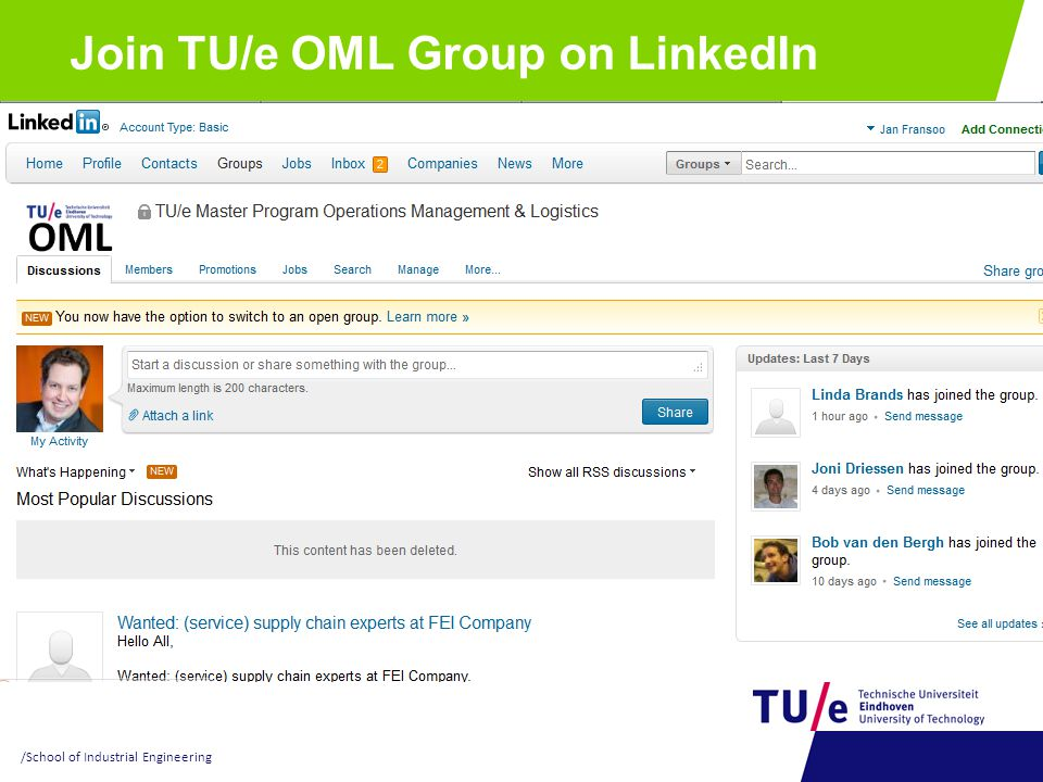 Join TU/e OML Group on LinkedIn