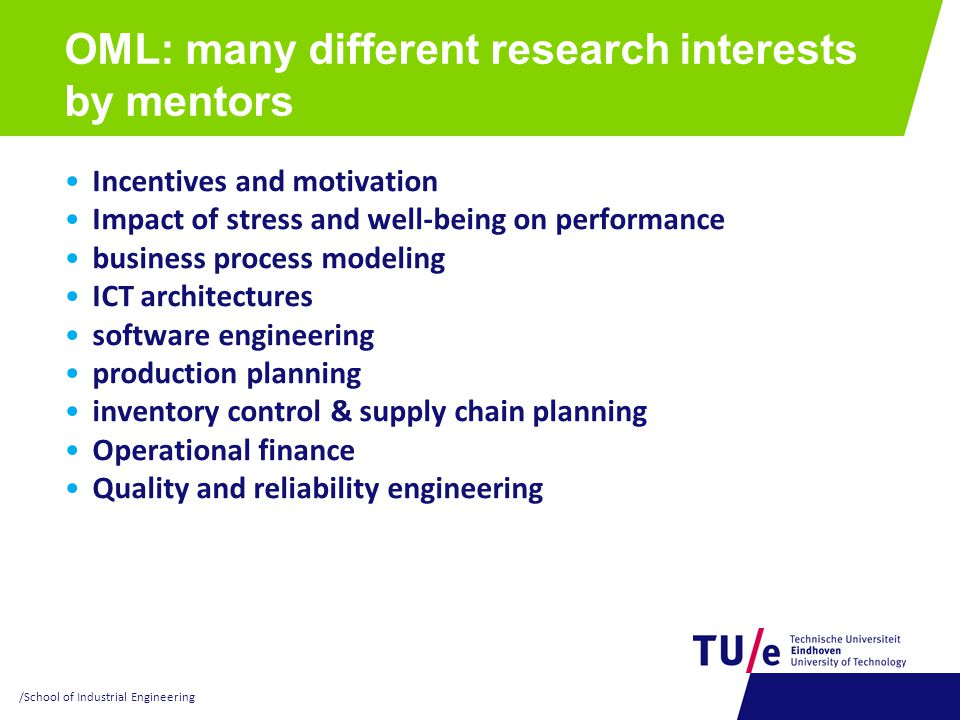 OML: many different research interests by mentors
