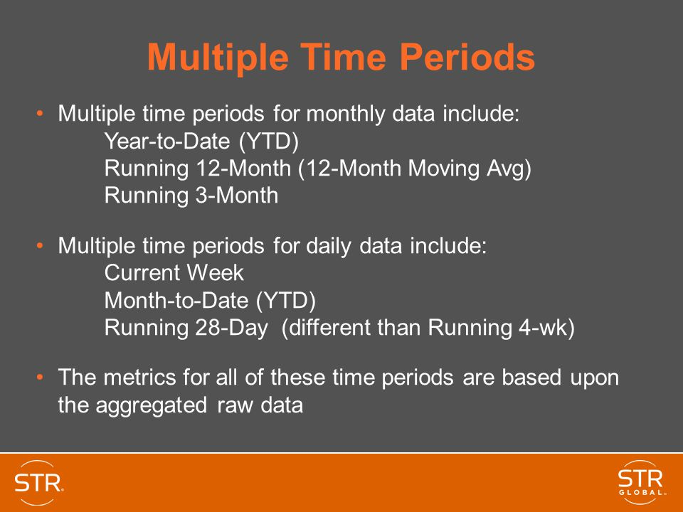 Multiple Time Periods Multiple time periods for monthly data include: