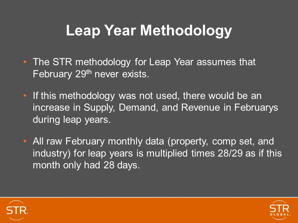 Leap Year Methodology The STR methodology for Leap Year assumes that February 29th never exists.