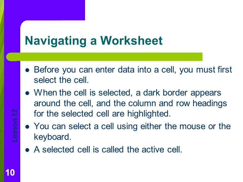 Navigating a Worksheet
