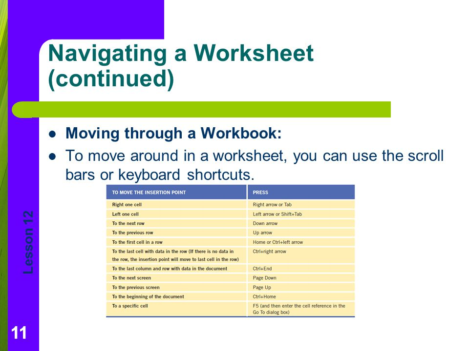Navigating a Worksheet (continued)