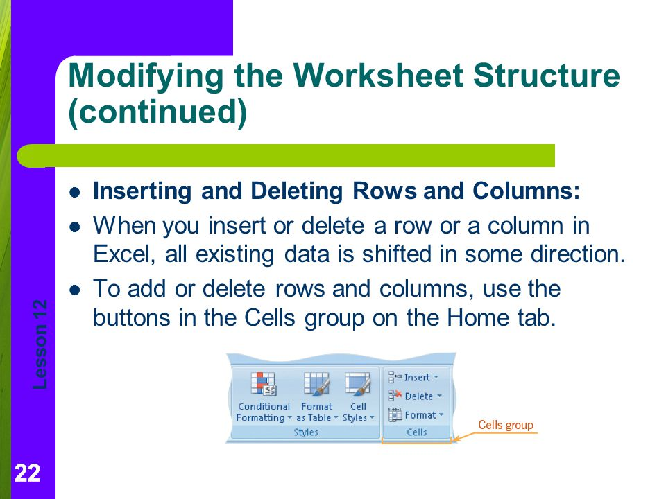Modifying the Worksheet Structure (continued)