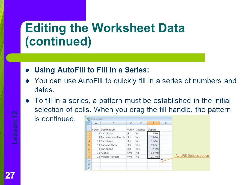 Editing the Worksheet Data (continued)