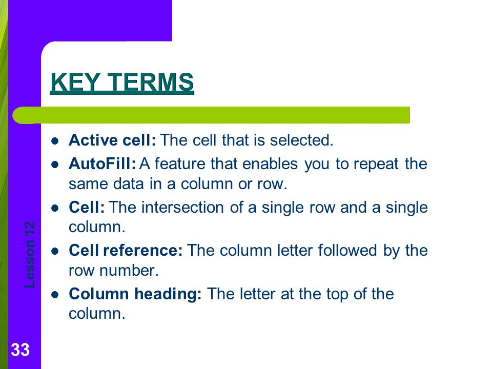 Key Terms Active cell: The cell that is selected.