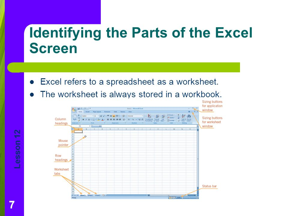 Identifying the Parts of the Excel Screen