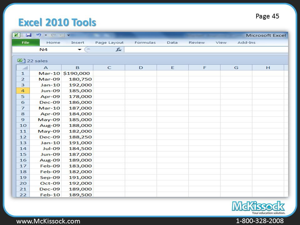 Excel 2010 Tools Page 45.
