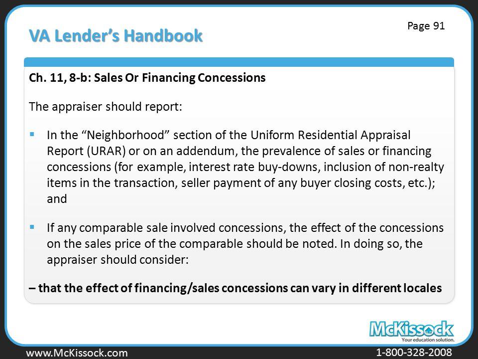 VA Lender's Handbook Ch. 11, 8-b: Sales Or Financing Concessions