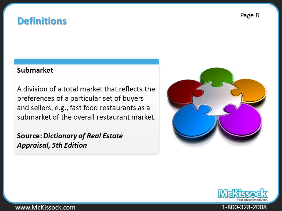 Definitions Submarket