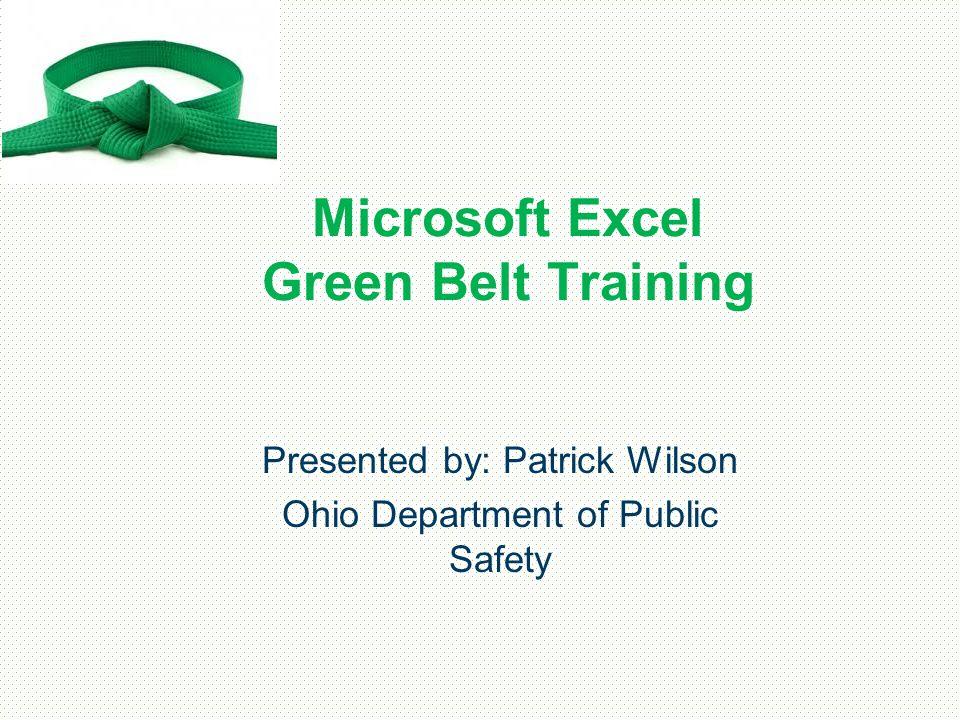 Microsoft Excel Green Belt Training