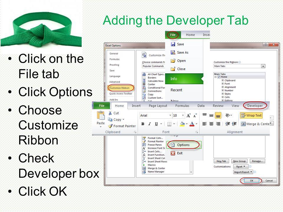 Adding the Developer Tab