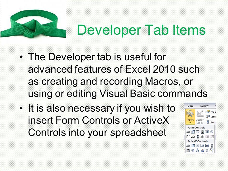 Developer Tab Items