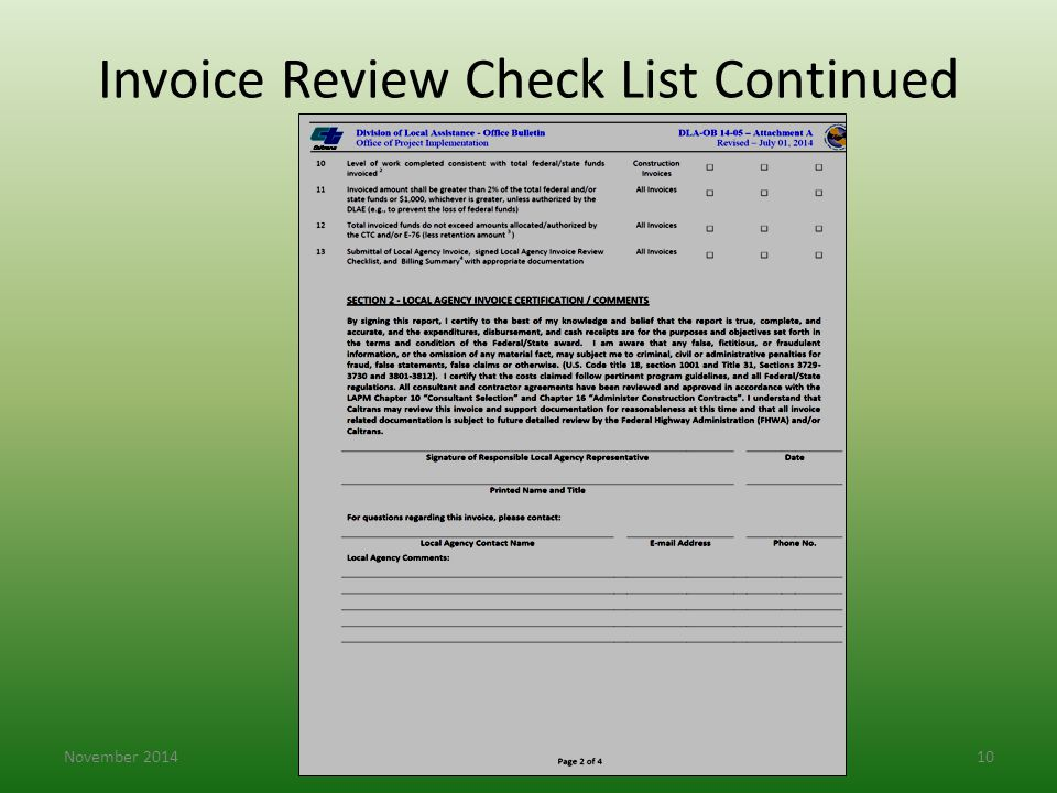 Invoice Review Check List Continued