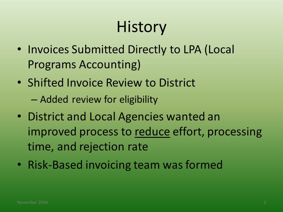 History Invoices Submitted Directly to LPA (Local Programs Accounting)