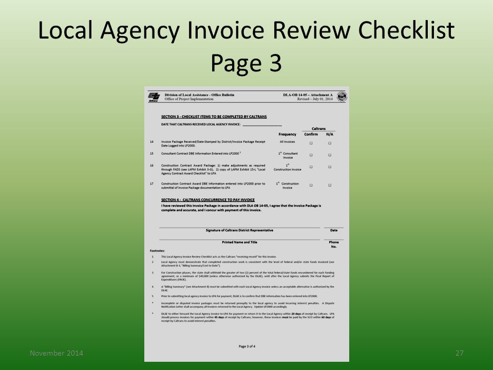 Local Agency Invoice Review Checklist Page 3