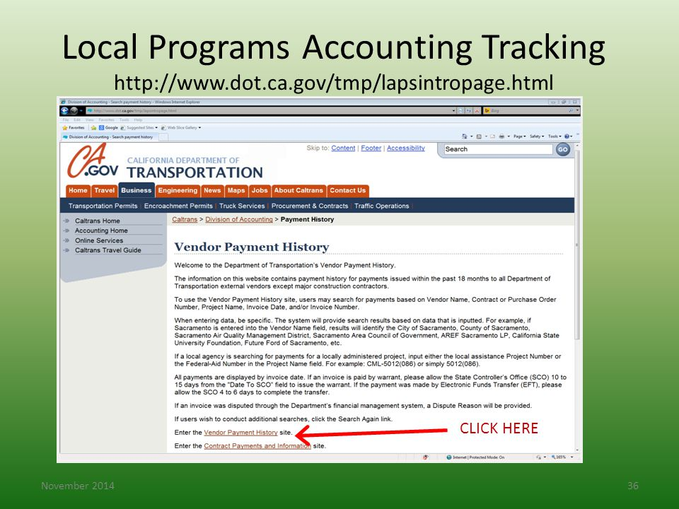 Local Programs Accounting Tracking http://www. dot. ca