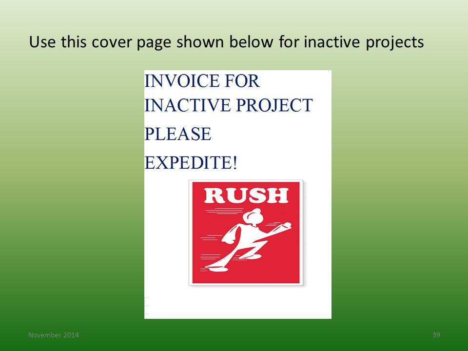 Use this cover page shown below for inactive projects