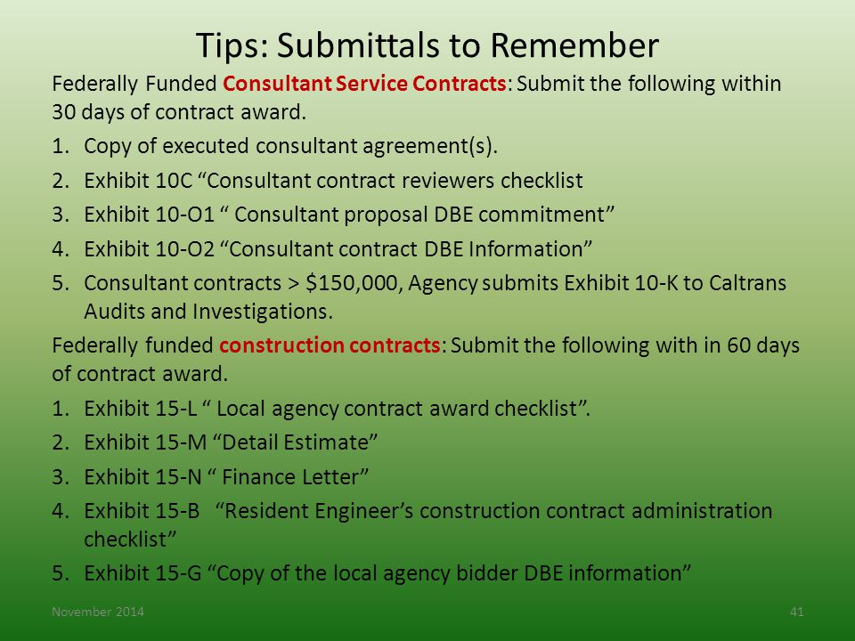 Tips: Submittals to Remember