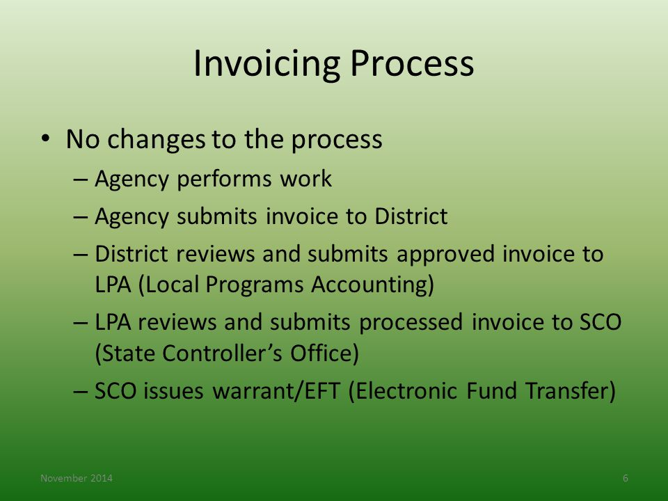 Invoicing Process No changes to the process Agency performs work
