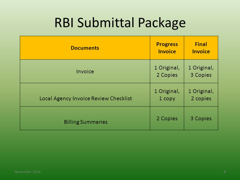 Local Agency Invoice Review Checklist