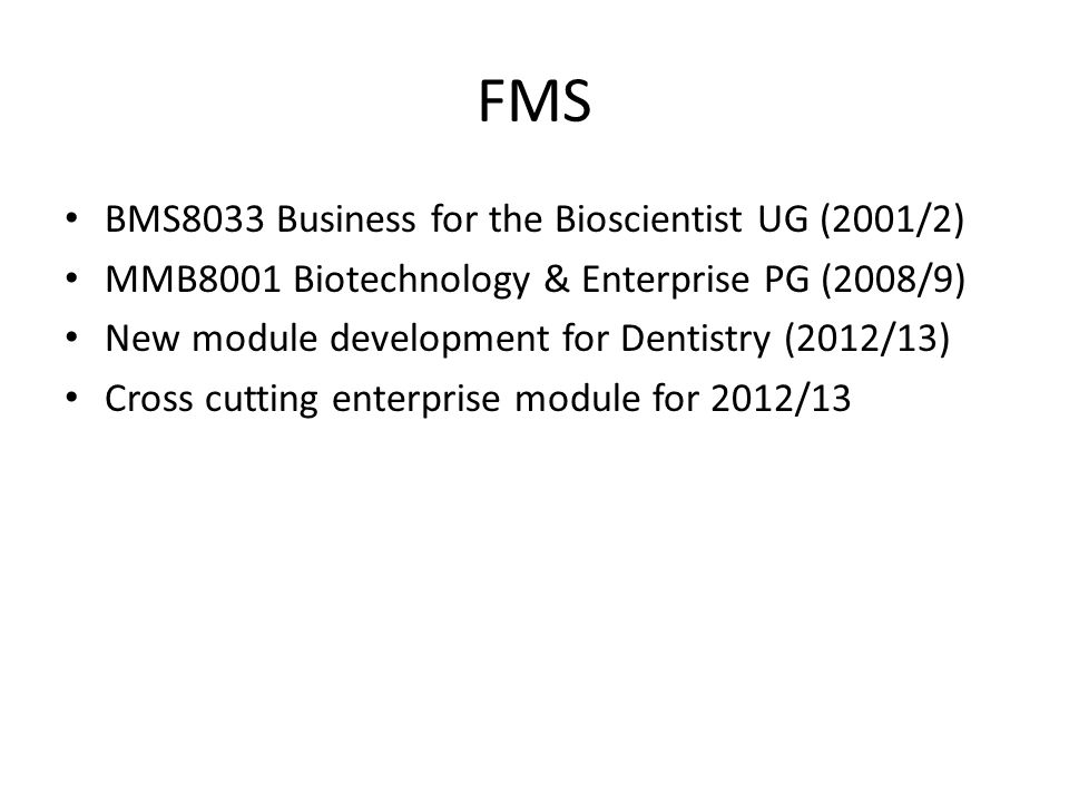 FMS BMS8033 Business for the Bioscientist UG (2001/2)