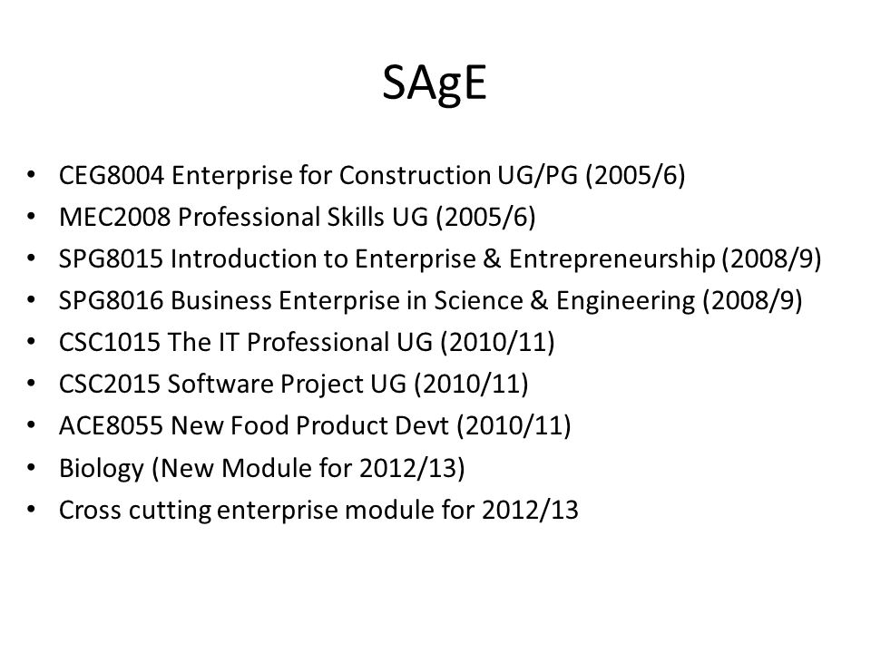 SAgE CEG8004 Enterprise for Construction UG/PG (2005/6)