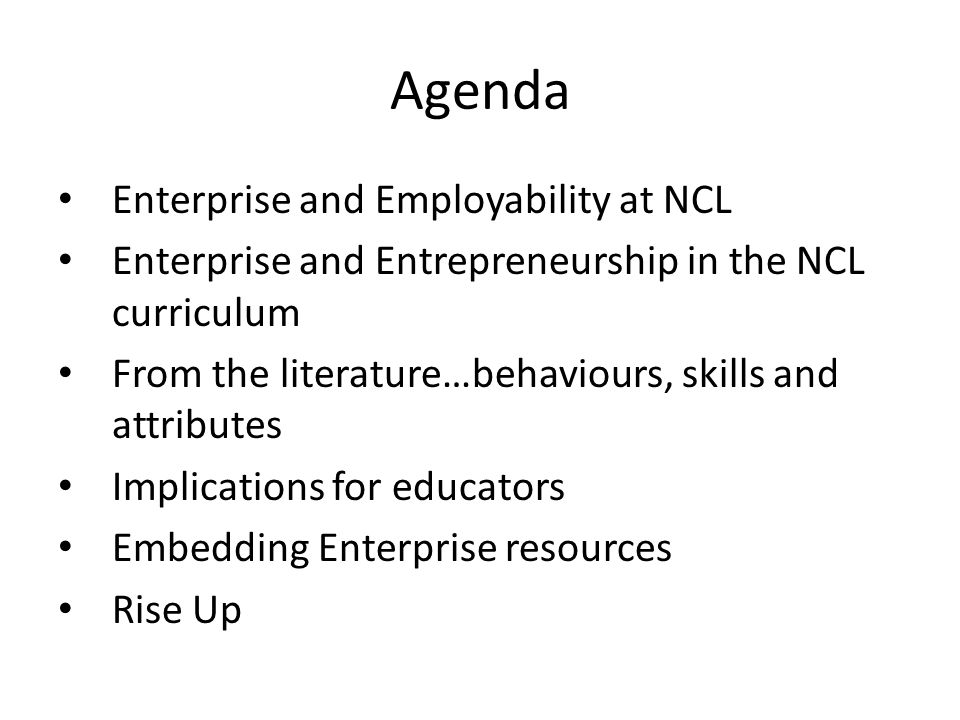 Agenda Enterprise and Employability at NCL