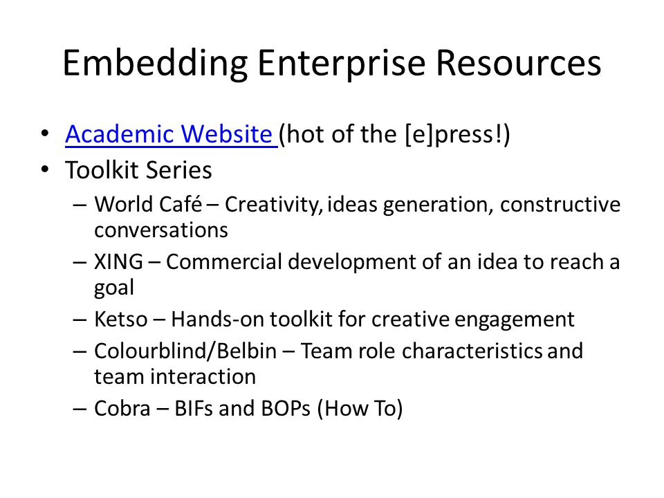 Embedding Enterprise Resources